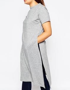 Image 3 of ASOS CURVE Maxi T-Shirt In Nepi With Split Sides