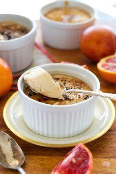 Guilt-free dessert: vegan, gluten-free, oil-free Blood Orange Creme Brûlée. From An Unrefined Vegan.