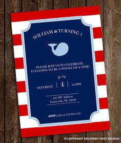 Whale Birthday Invitation  Boy's Whale by SouthernTwist1 on Etsy