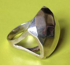 925 sterling silver square dome harlequin diamond quilt pattern BIG ring size 8 #unknown #Statement