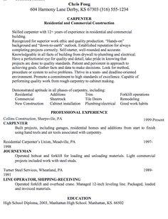 Forklift Operator Resume Sample Httpexampleresumecvorg   Carpenter Resume  Sample
