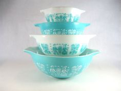 Vintage 1960s PYREX Turquoise / Aqua & White Cinderella Bowls in Amish Butterprint Farmer Pattern - Set of 4 Mixing Bowls FULL SET
