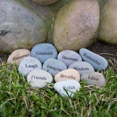By writing inspirational words on stones and laying them around your garden, you'll be reminded of how much you have to be thankful for and be able to achieve a relaxing and zen-like state more easily.