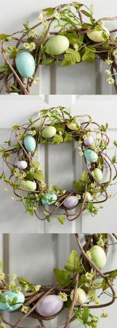 PASTEL VINE & EGG WREATH - perfect for welcoming spring! #easter #spring #wreath #frontdoor #homedecor #affiliate