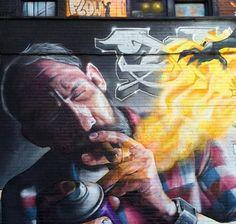 in Montreal, Canada, 2017 Street Mural, Street Art Graffiti, Chalk Pictures, World Street, Amazing Street Art, Outdoor Art, Street Artists, Public Art, Art World