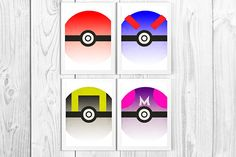 Pokeball Print Set Minimalist Print Set Pokemon Wall Art