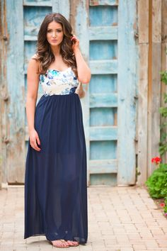 Just Like This Maxi Dress - Navy from Closet Candy Boutique