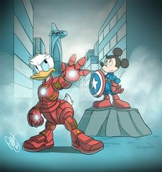 Donald Duck and Mickey Mouse are ready for 'Avengers' duty. Disney Duck, Disney Mickey, Disney Pixar, Arte Disney, Disney Art, Disney Magic, Duck Wallpaper, Disney Wallpaper, Minnie Mouse