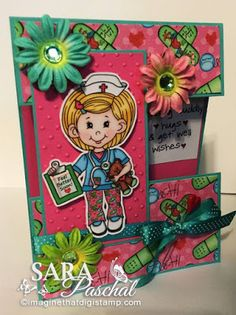 Welcome to New Release Week from Imagine That digistamp. I have created a split panel card creation today using the brand new Nu. New Nurse, Digi Stamps, Giveaway, Paper Crafts, Clip Art, Create, Projects, Cards, Log Projects