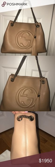 GUCCI SOHO CHAIN BAG BEIGE MEDIUM Add a touch of practicality without sacrificing style.  Beige leather  light gold hardware natural cotton linen lining Made in Italy embossed interlocking G detachable leather tassel double chain shoulder straps with leather shoulder pad 18cm drop inside hook closure medium size: W38cm x H27cm x D14cm Worm only a handful of times no damage excellent condition. Dustbag included and any cards Gucci Bags Shoulder Bags