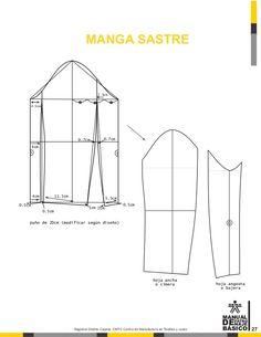 Manual de patronaje CMT - SENA Coat Patterns, Dress Sewing Patterns, Clothing Patterns, Tailoring Techniques, Sewing Techniques, Pattern Cutting, Pattern Making, Pattern Drafting Tutorials, Sewing Men