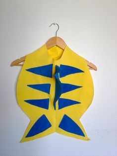 Yellow Fish Cape, Halloween Costume or Dress Up Cape for all ages More
