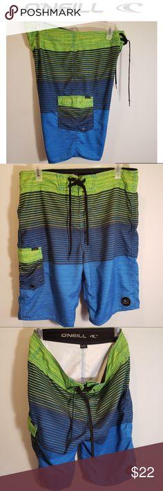 981dabf2c6 🌴Board Shorts/Swim Trunks-O'Neill-Green-Blue 🌴Green, Blue & Black 🌴Side  pocket 🌴Drawstring closure Waist Long Inseam Polyester 🌴Excellent used ...