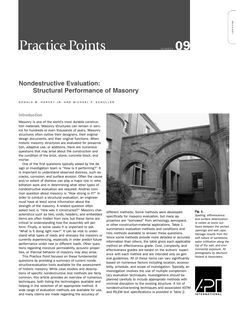 "APT Bulletin - Practice Point  No. 9 ""Nondestructive Evaluation: Structural Performance of Masonry"" By: Donald W. Harvey and Michael P. Schuller"