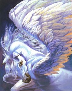 Pegasus: (Ancient Greek: Πήγασος, Pégasos, Latin Pegasus) is one of the best known mythological creatures in Greek mythology. He is a winged divine stallion usually depicted as pure white in color. He was sired by Poseidon, in his role as horse-god, and Unicorn Fantasy, Unicorn Art, Unicorn Poster, Unicorn Painting, Fantasy Kunst, Fantasy Art, Magical Creatures, Fantasy Creatures, Pegasus