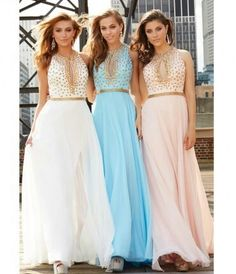 3f2217da3987 Blue Chiffon Metallic Belted Gown With Gold Studded Bodice Prom 2015
