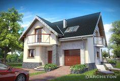 Projekt domu Magnus - dom z otwartą przestrzenią na parterze, z dwoma garderobami na poddaszu beton komórkowy - widoki oraz elewacje domu - Archeton.pl