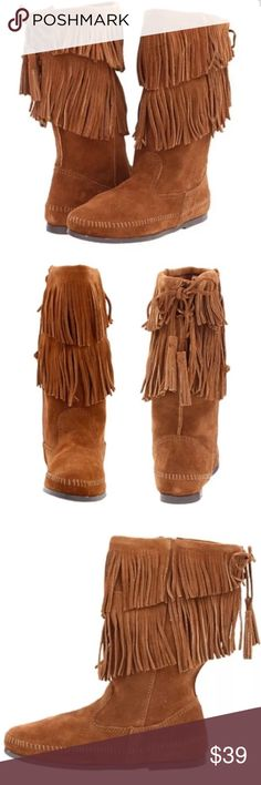 Minnetonka 2 layer fringe boots new size 6 There is no denying the stylish edge and comfort of the Calf Hi 2-Layer Fringe boot from Minnetonka®.  SKU: 8005402  Soft suede upper with a 2 layer fringe design detail for much added visual appeal.  Stitched moc vamp with a full side zipper allows for easy on-and-off wear.  Unlined suede interior is cozy all winter long.  Foam cushioned insole provides comfort and support. Minnetonka Shoes Ankle Boots & Booties