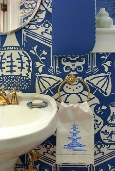 Chinoiserie Chic: Navy - The Powder Room. For a similar brass towel ring click below: http://www.priorsrec.co.uk/classic-towel-ring/p-41-45-178