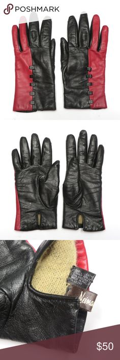NEIMAN MARCUS Very good condition genuine leather gloves from Neiman Marcus. Lightly worn with no defects.  Red and black two-toned color block, wool blend lining, sized as a 7. Made in Italy.   Automatically reduce price 20% for 3+ bundles. Neiman Marcus Accessories Gloves & Mittens