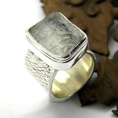 sterling silver aquamarine ring raw crystal ice by nikiforosnelly