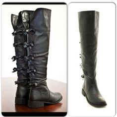 """⭐️$2.95 SHIP⭐️Over the Knee NIB Black Bow  Boots Size 5.5 NIB Black Bow Back Riding Boots. Black with adorable bow details. Stitch detailing, stacked heel, and inner side zipper closure for easy on and off wear. Lined with a padded footbed for the best fit. Man made materials. Shaft height: 19"""", Top opening is approx 16"""", middle of the boot calf circumference is approx 14"""".🚫Trades and No Paypal🚫Price firm, not eligible for discounts, not restocking Shoes Over the Knee Boots"""