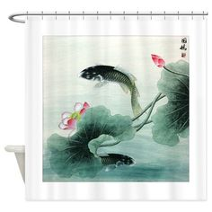 Koi Fish and Lotus Flowers cool Shower Curtain on CafePress.com