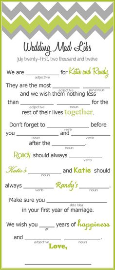 Chevron Wedding Mad Libs  Wedding Activity for by kjones4099