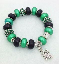 Turtle European style Charm Bracelet by Graceandliz on Etsy, $15.00