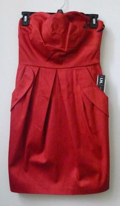 Juniors I.N. San Francisco Size 5 Red Strapless Mini Dress W/Pockets Back Zipper #INSanFrancisco #Cocktail