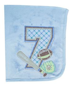 Love this Clever Birds 30'' x 40'' Periwinkle '7' Knit Receiving Blanket by Clever Birds on #zulily! #zulilyfinds