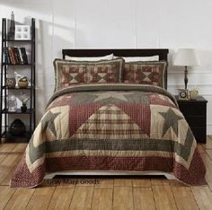 Patriotic Queen Quilt 7PC Set Authentic Patchwork Plymouth Star Quilts Farmhouse #OliviasHeartland #Farmhouse