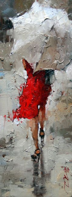 "Rouge et Blanc Giclee 16"" x 6"" Limited Edition Print http://www.andrekohnfineart.com/"
