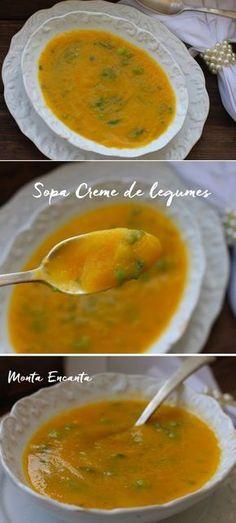 Sopa Creme de Legumes – Best Art images in 2019 Cream Soup Recipes, Healthy Soup Recipes, Vegan Recipes, Slow Cooker Recipes, Cooking Recipes, Portuguese Recipes, Light Recipes, Soups And Stews, Food Inspiration
