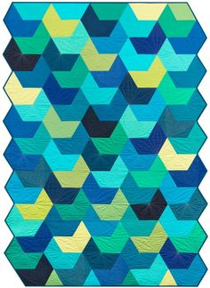 """Splash"" quilt designed by Jaybird Quilts. Features Kona Cotton Solids. Fat Quarter friendly."