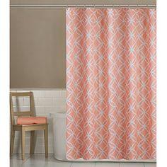 Maytex Emma Fabric Shower Curtain, Coral, 70 X 72 Inch , ...