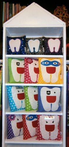 Glow in the dark tooth pillows Tooth Pillow, Felt Crafts, Advent Calendar, The Darkest, Glow, Pillows, Holiday Decor, Products, Home Decor