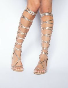 Knee high gladiator sandals