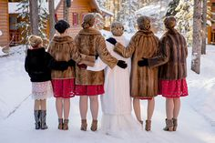 15 Cold Weather Brides & Their Tribes ~ Love their coats and those updos! Photography by Orange Girl