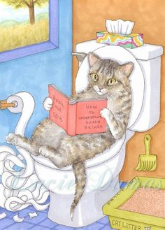 Art print 5x7 Cat 535 funny bathroom painting by by artbyLucie