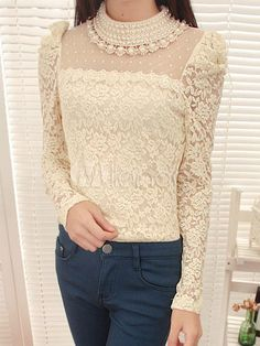 Solid Color Lace Long Sleeves Lace Modern Tee Shirt For Women - Milanoo.com