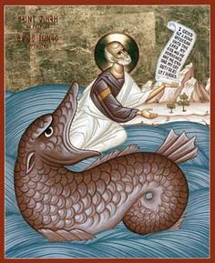 Saint Jonah - Holy Prophet Wood Icon From The Transfiguration Monastery Jonah And The Whale, Byzantine Icons, Byzantine Art, Religious Icons, Religious Art, La Résurrection Du Christ, Prophet Jonah, Biblical Art, Christian Art