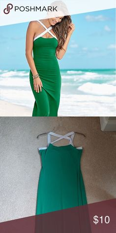 Never worn maxi dress Green maxi with a white front criss cross venus Dresses Maxi