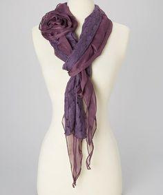 Purple Rosette Linen-Blend Scarf