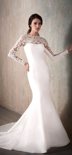 Long sleeve Lace Wedding Dress by Adrianna Papell