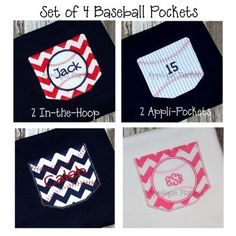4 Applique Baseball Pocket Set Monogram Pocket Design File $12 http://www.appliquemarket.com/item.php?item_id=1248_id=77