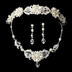 99.59$  Watch here - http://vinbr.justgood.pw/vig/item.php?t=fcx3b5z39751 - Swarovski Crystal & Freshwater Pearl Bridal Jewelry & Tiara Set (Silver or Gold)