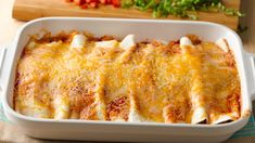5-Ingredient Beef Enchilada Casserole – It only takes five ingredients to put together these bubbly, cheesy beef enchiladas.