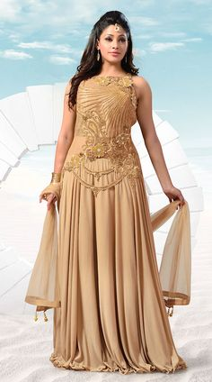 Classy Dusty Cream Hosiery Ready Made Indowestern Gown