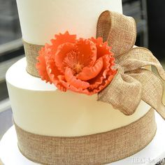 Burlap and Peony Bridal Shower Cake by Beverly's Bakery